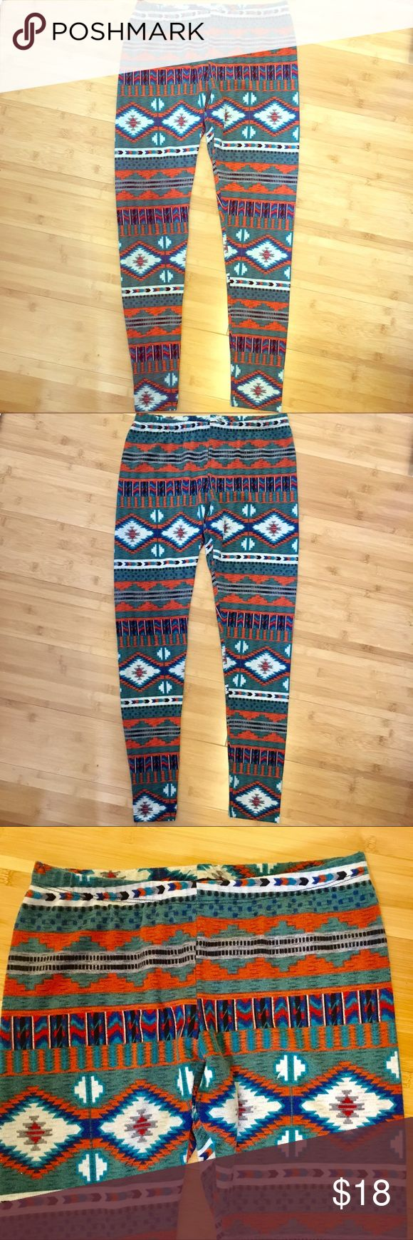 New Aztec Print Pants Thick Cotton Leggings Thick Cotton/Spandex Southwestern Print pants. Slight stretch- not your normal, thin stretch pants. Warm. Never worn. Aztec leggings. Pants Leggings