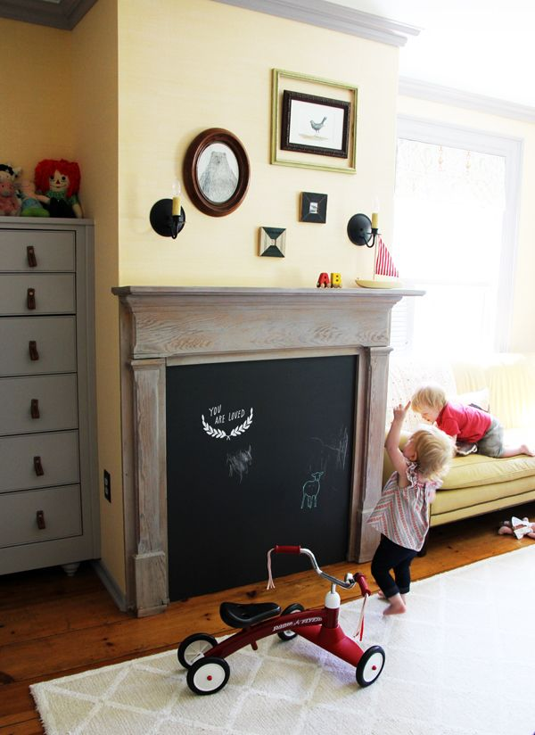 My decals in Kirsten Marchand's gorgeous home.Ideas, For Kids, Chalkboards Painting, Kids Room, Chalk Boards, Faux Fireplaces, Antiques I Nurseries, Diy Mantels, Chalkboards Fireplaces