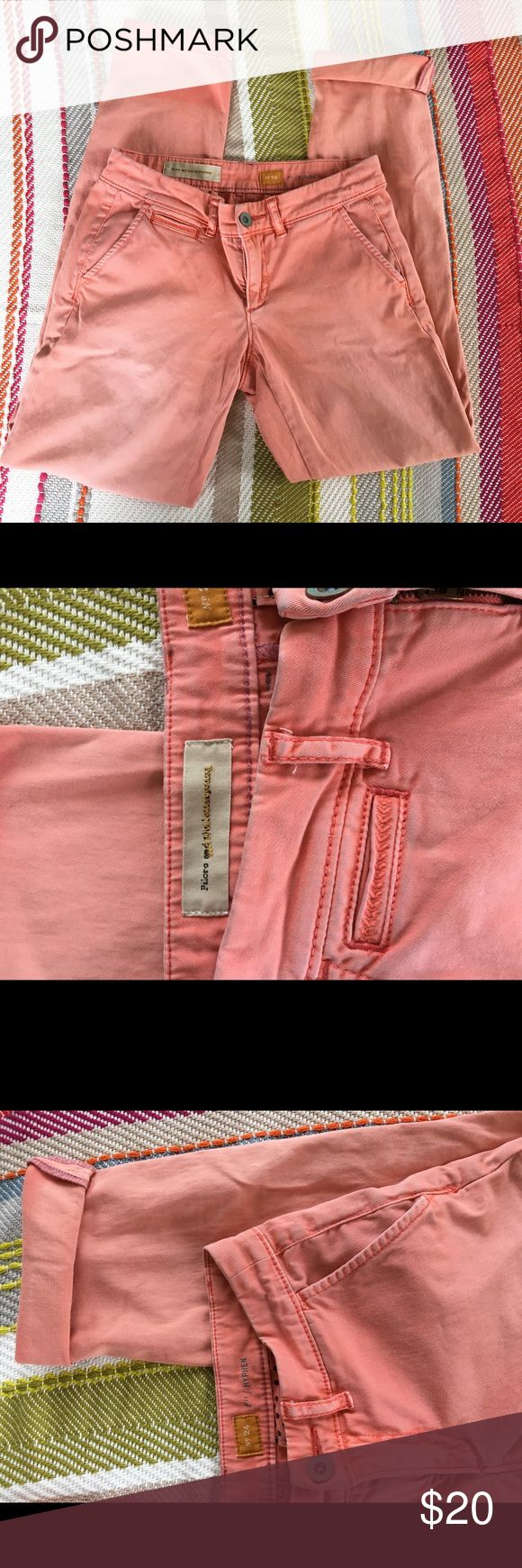 """Anthropologie salmon pants Anthropologie pilcro and the letterpress No. 24 fit hyphen  Salmon colored pants super soft and chic style. Has two flaws: miss color on bottom two inches, it's from them always being rolled up. If rolled up not seen. Also a small """"oil"""" looking stain very small on back calf.   Measurements: Waist- 28 Rise- 7 Inseam- 31 Anthropologie Pants Straight Leg"""