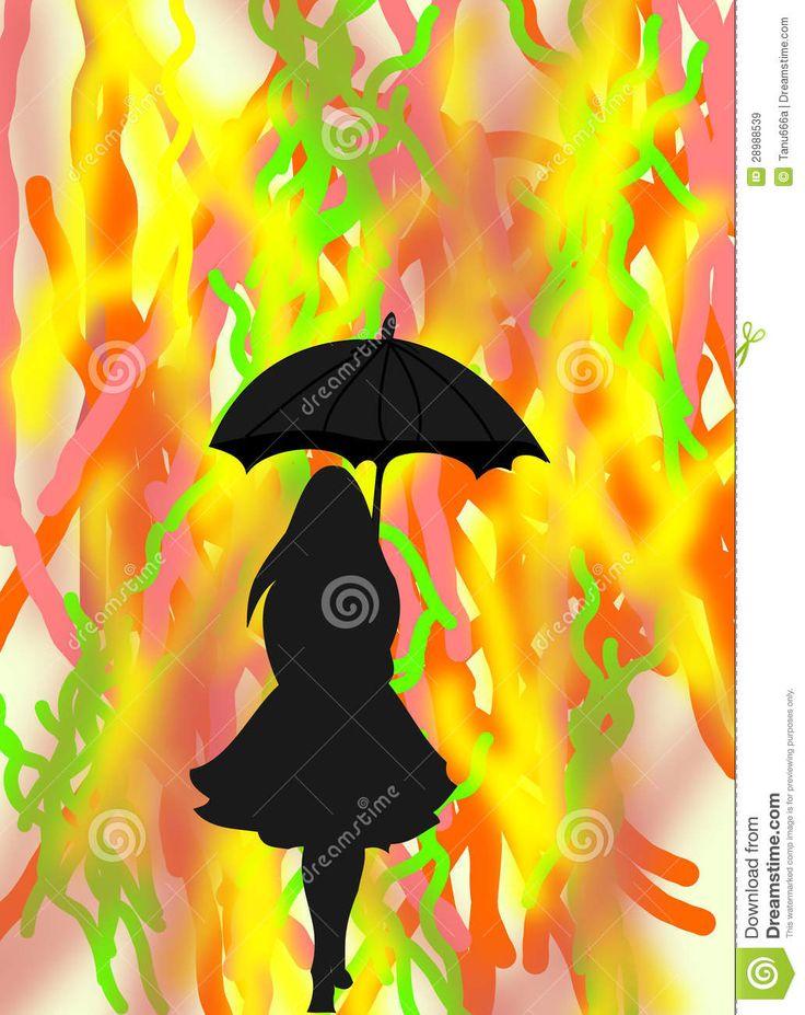 ladies with black umbrellas | Black Silhouette Of A Girl ...
