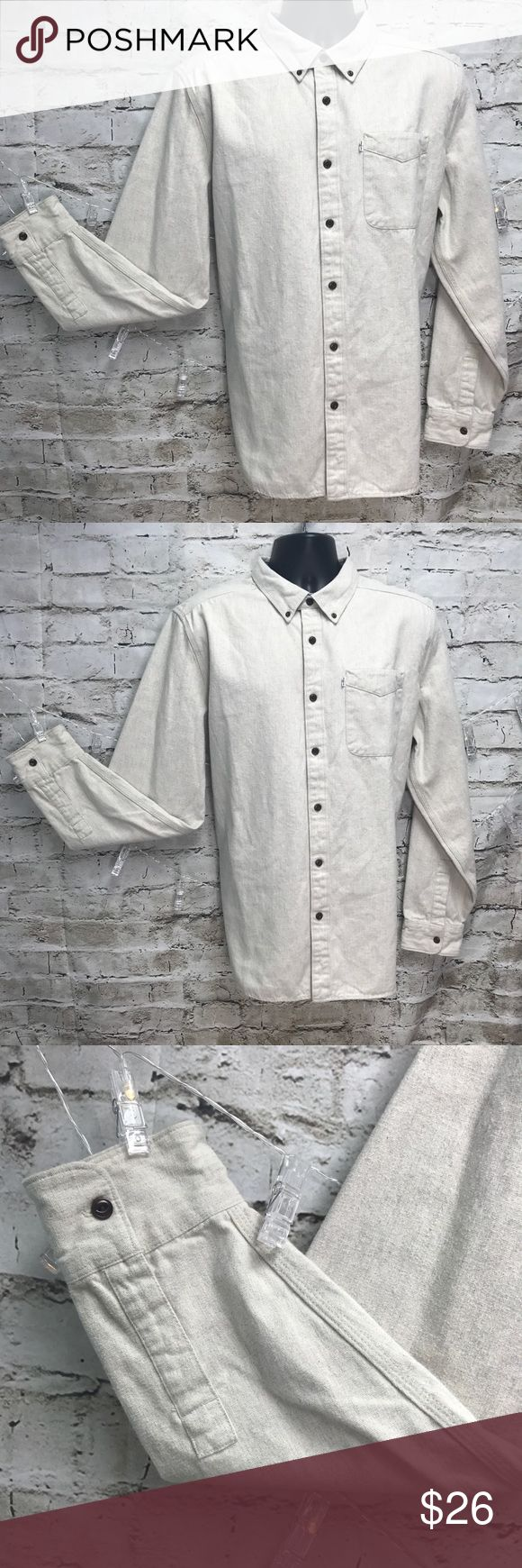 """Men's Levi's Cream Denim Button Down Shirt Men's dressy casual Levi's button shirt. Preowned but looks new. Size XL. Flat lay measurements from back of collar to bottom of shirt 33"""", sleeve 28"""", arm pit to arm pit 25"""". Thank you for looking and I invite you to check out my closet & boutique for more! Save 15% by bundling two items! Levi's Shirts Casual Button Down Shirts"""