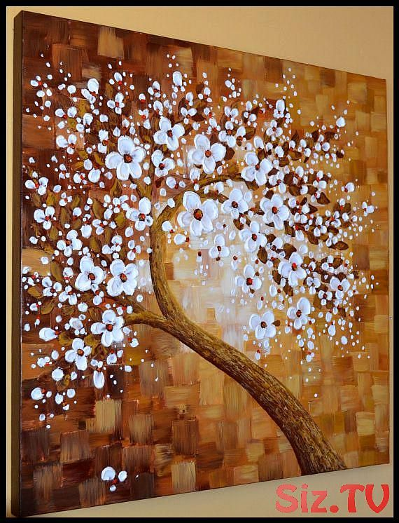 Large Abstract Canvas Art White Cherry Blossom Impasto Palette Knife Painting By Zara Large Abstract Cherry Blossom Painting Abstract Canvas Art Tree Painting