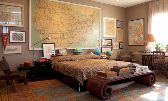 We are DIGGING this travel-themed bachelor pad.