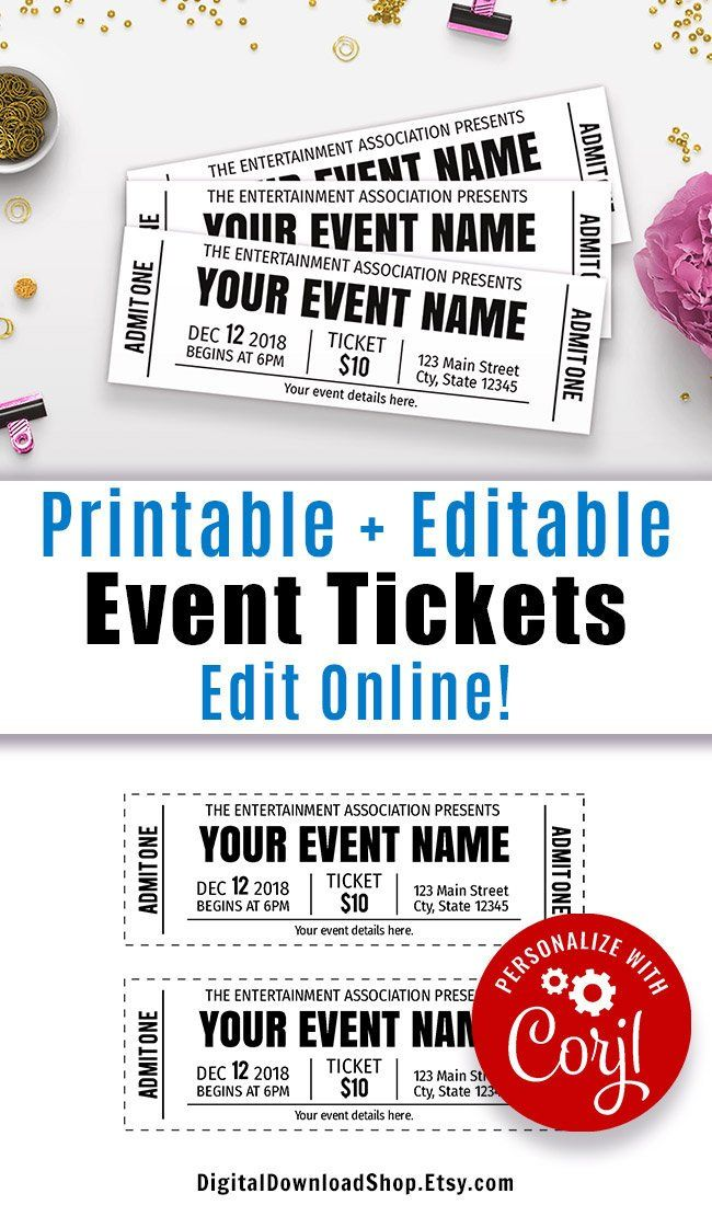 Event Ticket Printables Editable Event Tickets Event Ticket