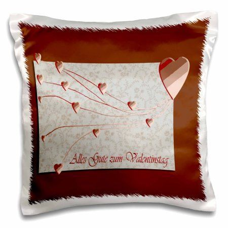 3dRose Alles Gute zum Valentinstag, Happy Valintines Day in German , Copper Hearts , Pillow Case, 16 by 16-inch