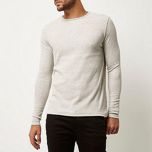 T-shirt gris côtelé cintré à manches longues - T-shirts unis - T-shirts/débardeurs - Homme
