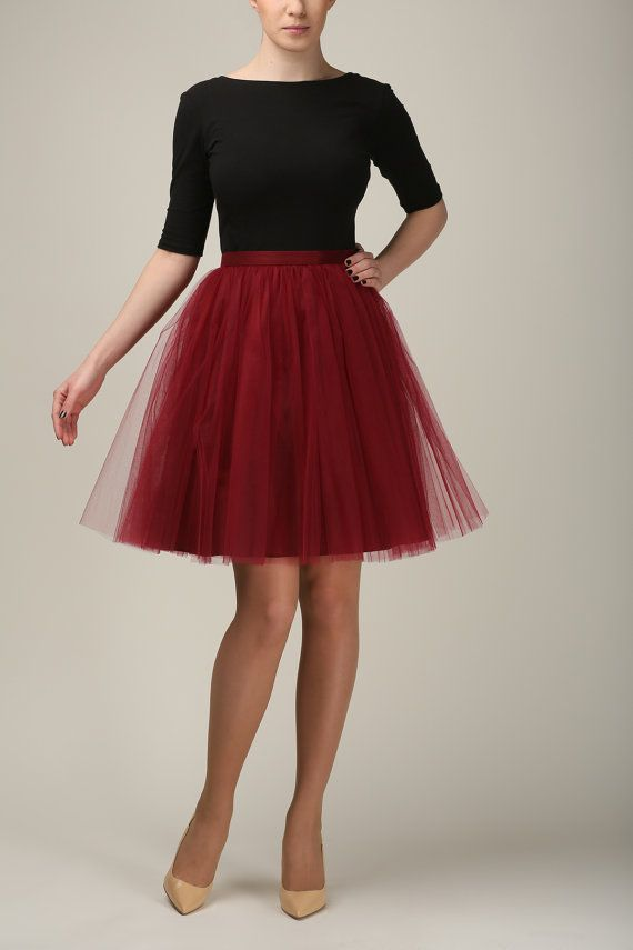 High-quality cherry tulle skirt MADE TO ORDER, also good as petticoat. Made of two layers of soft tulle and satin. The skirt has hidden zipper on the
