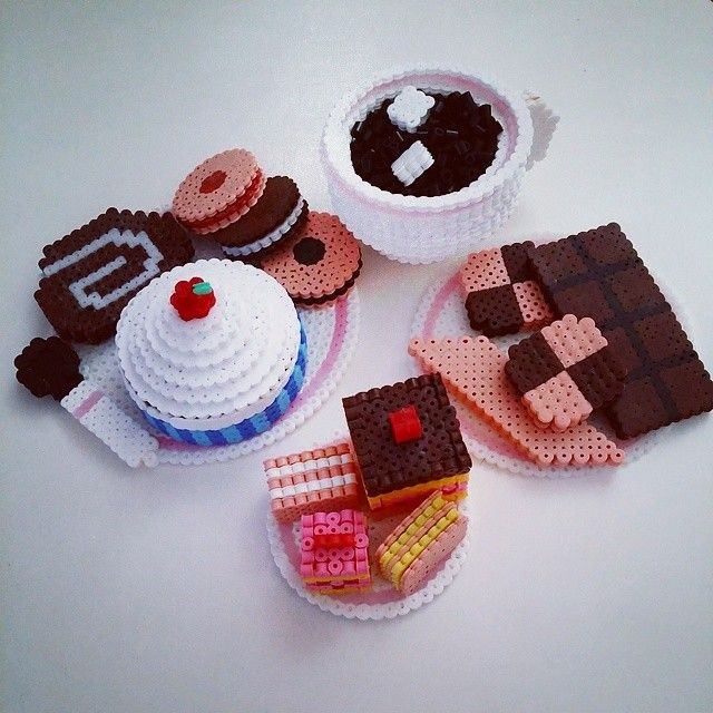 3D Coffee and cookies perler beads by missellii