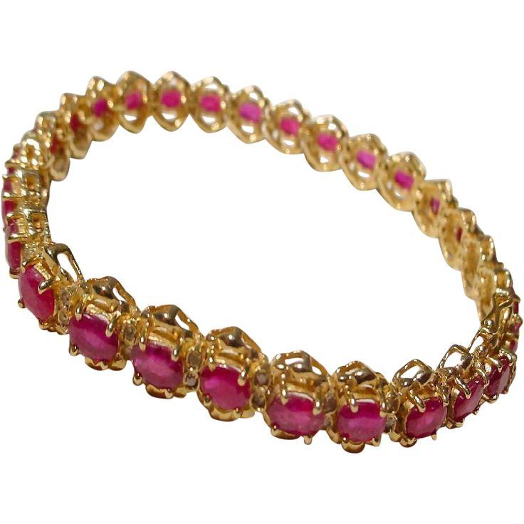 Supper Red - Red Ruby Bracelet w/ Diamonds 14 KT Yellow Gold - Tennis Bracelet…
