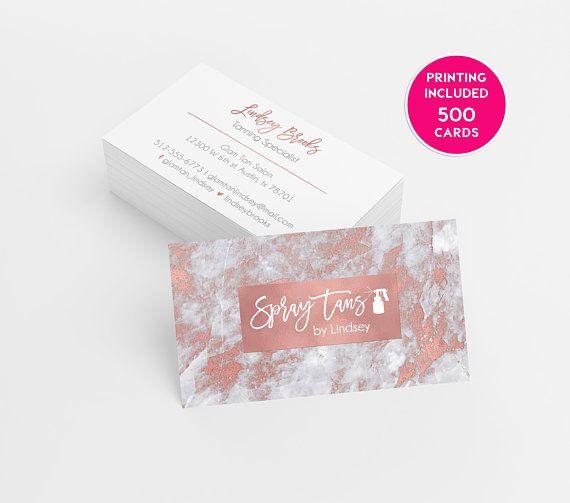 Rose Gold Spray Tanning Business Card Design 500 Printed Spray Tan Business Cards Spray Tan Business Salon Business Cards