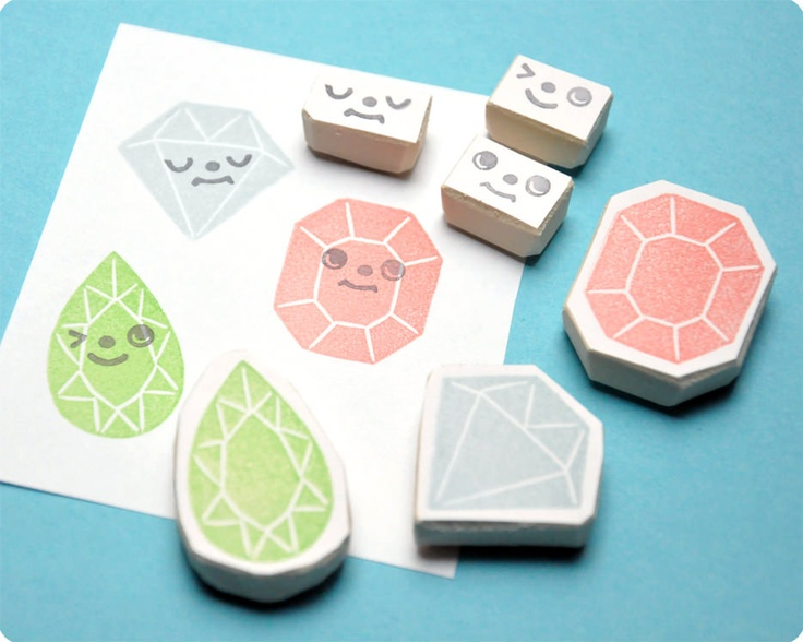 Hand carved Diamonds face change rubber stamps set of 6