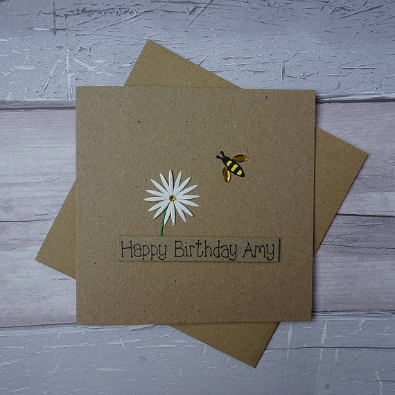 Bee birthday card Bee Happy on your birthday Handmade