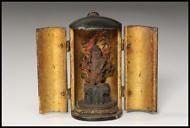 Japanese Antique Wooden Statue of Fudo Myoo (Acala) Nidoji-zo Statue / Buddhism