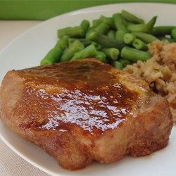 Marinated Baked Pork Chops - Allrecipes.com Cover 1st 30 min. Drain. Flip. Baste. Uncover. Bake just 20 more min. Take out. Tent and let sit 5 min before serving. Delicious!