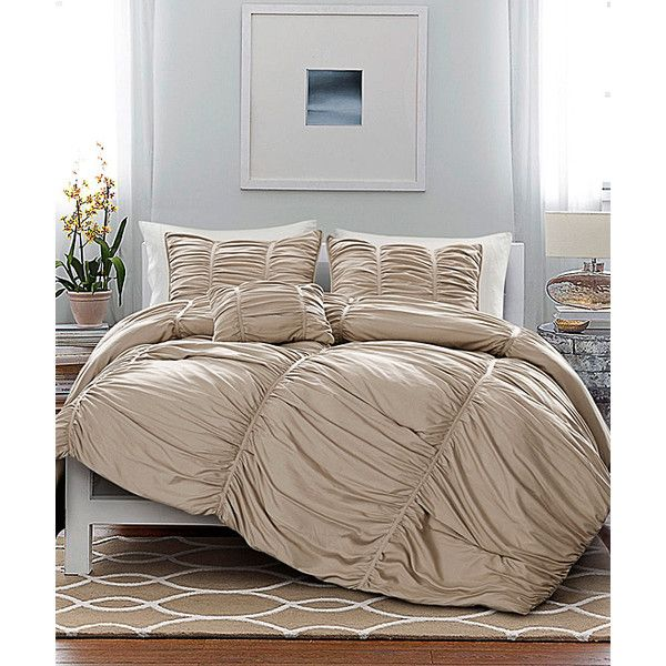 Victoria Classics Taupe Madeira Comforter Set ($50) ❤ liked on Polyvore featuring home, bed & bath, bedding, comforters, king size shams, king size quilt sets, king quilt set, polyester comforter and king comforter set