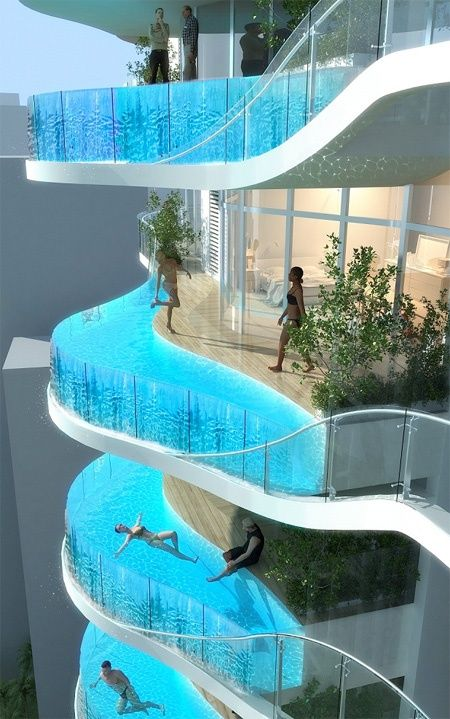 Balconis/swimming pools. Bandra Ohm residential building in Mumbai, India will feature large balconies with integrated swimming pools. Designed by world renowned architect James Law, modern apartment building was inspired by the ripple effect and the symbol Ohm (Ω).    Proposed 30-story tower with swimming pool balconies aims to provide luxurious and comfortable living environment.