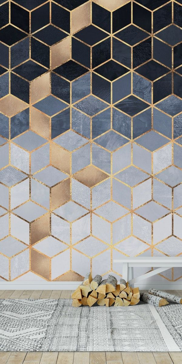Soft Blue Grant Cubes Wall Mural