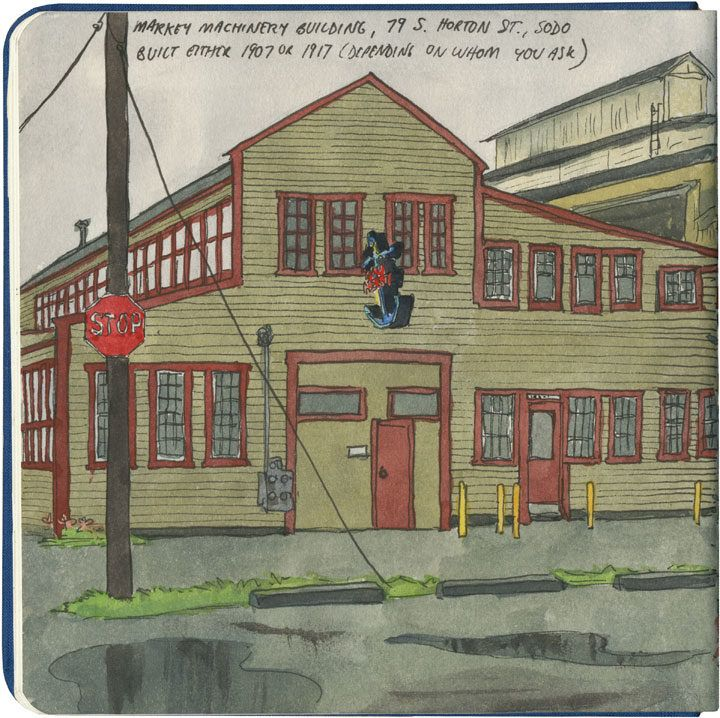 I love Seattle's old wooden port buildings; I've been sketching them more often in case they get torn down in favor of ugly condos.