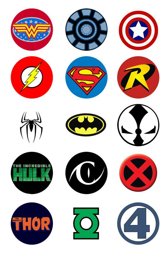 Super Hero Logo Pinback Buttons 5 pk by DropKickQueen on Etsy, $5.00