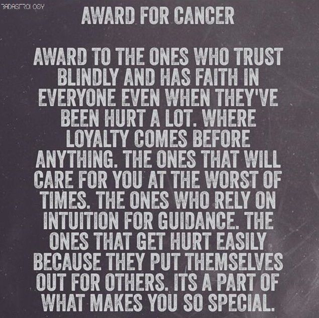 Award for Cancer Zodiac Sign♋.......thank you, be humble, be well, be not deserving to oneself.