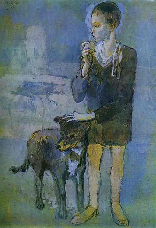 Pablo Picasso:Boy with a Dog. 1905. Pastel and gouache on cardboard. The Hermitage, St. Petersburg, Russia.