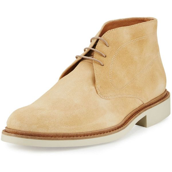 Bugatchi Verona Suede Chukka Boot ($179) ❤ liked on Polyvore featuring men's fashion, men's shoes, men's boots, medium beige, mens suede shoes, mens suede chukka boots, mens lace up boots, mens lace up shoes and mens chukka boots