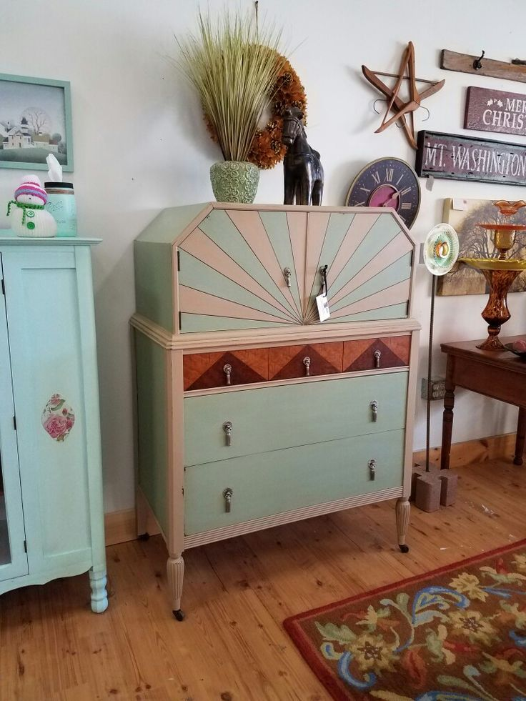 How fun is this? This one-of-a-kind dresser has been totally transformed from dull and drab to fun and fab!