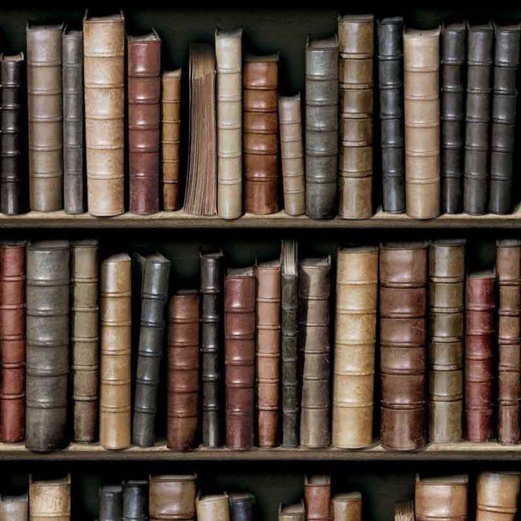 Papier peint Bibliothèque rétro trompe l'oeil (Rouleau:7,68 m)