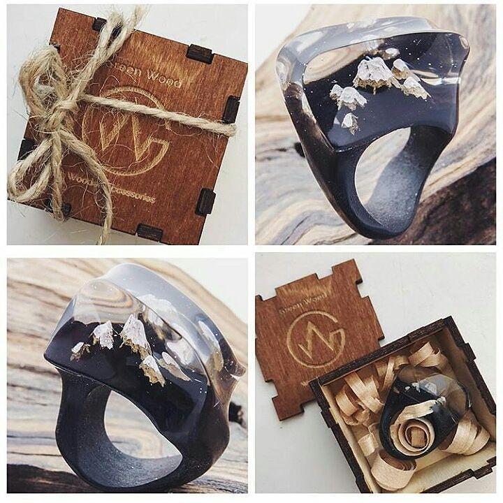 """Wooden ring """"Mont Blanc""""  #greenwood #greenwoodring #mountains #montblanc #montenegro #woodenrings"""