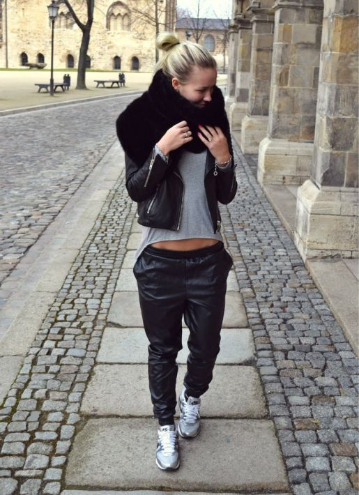 Leather trackpants...