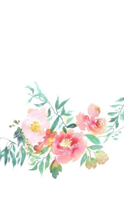 iPhone wallpaper- pink watercolor flowers, white background