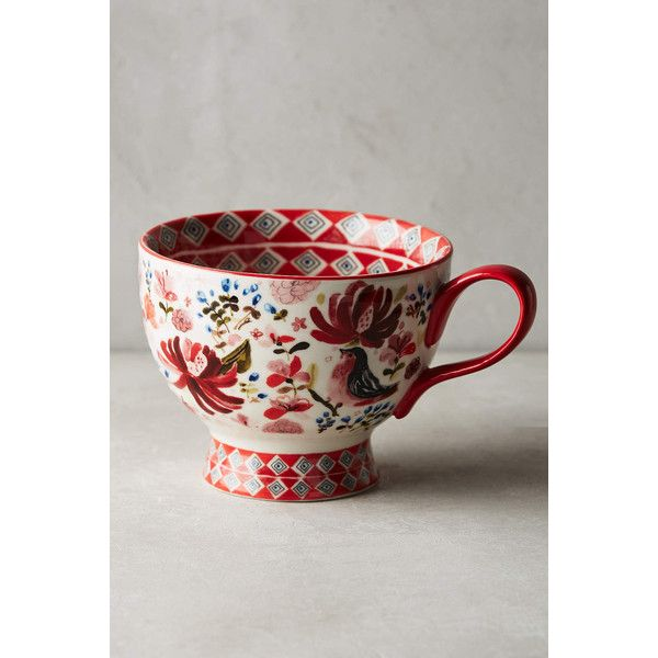 August Wren Wing & Petal Mug ($14) ❤ liked on Polyvore featuring home, kitchen & dining, drinkware, red motif, red stoneware, red mug and stoneware mugs