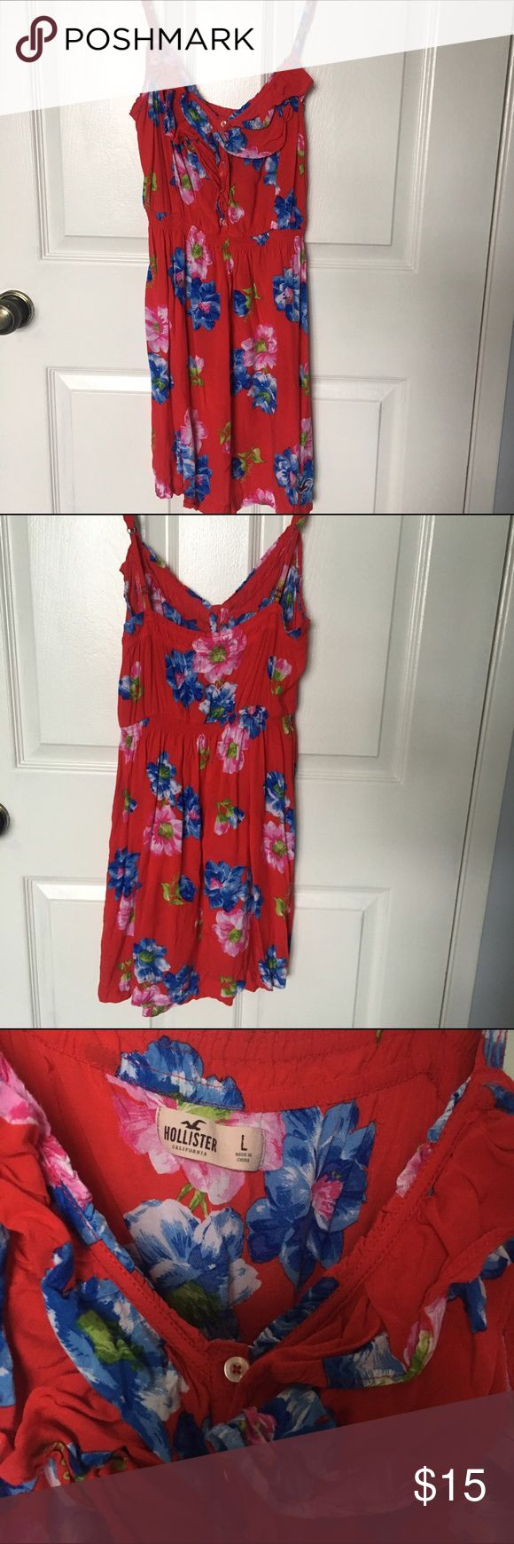 Red Floral Hollister Dress Tag says large but fits more like a medium. The ruffles in the third picture probably need to be ironed out. I wore this a few times but it's in good condition. Hollister Dresses Mini