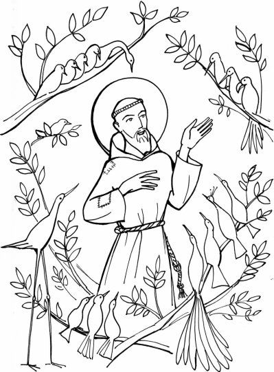 Saint Francis and the Birds Coloring Page.  (Click on the image on the website to get the full quality jpg.) Coloriage - St François parlant aux animaux