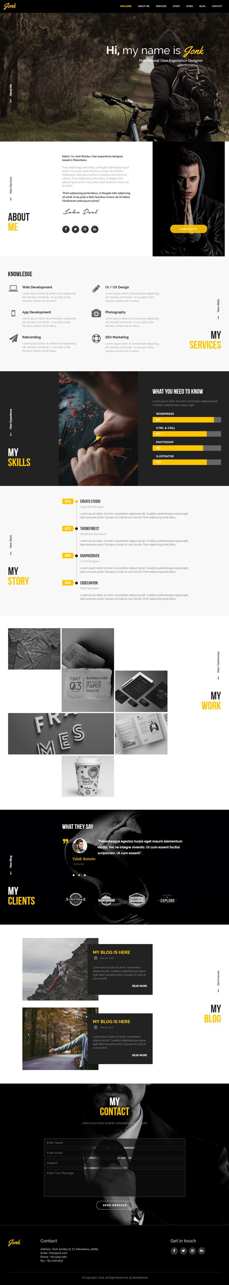 jonk is premium full responsive muse resume template one page font icons - Free Resume Fonts