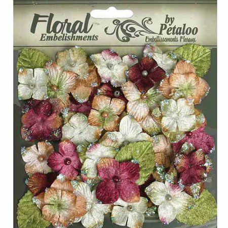 Petaloo Floral Embellishments Velvet Hydrangeas With Glitter, 36pk