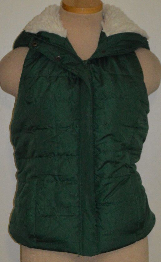Ladies Rue 21 Green Full Zip Hooded Outerwear Insulated Vest Juniors Size XL #rue21 #Vest