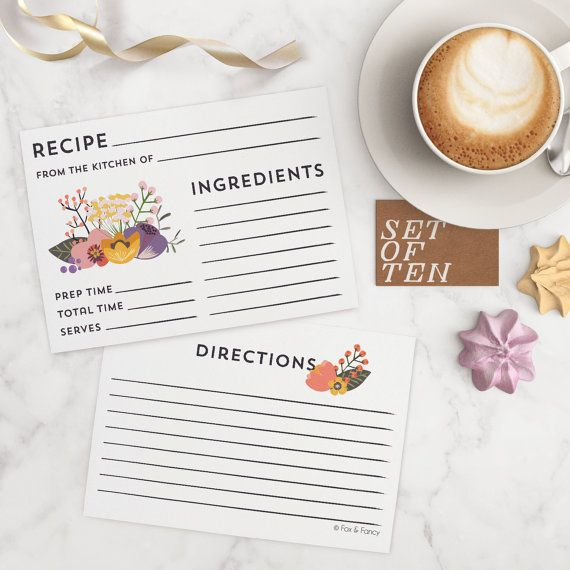 Floral Recipe Cards Set of 10 cards with flowers by foxandfancy