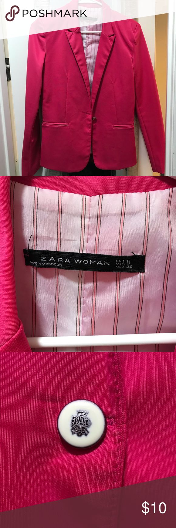 Zara Woman Blazer Zara Woman got pink blazer💗 Such a statement piece! Perfect for work or brunch with the ladies. A few small picks but overall in good (barely) used condition. Zara Jackets & Coats Blazers