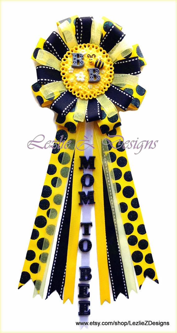 Bumble Bee Baby Shower Corsage Mommy To Be Pin   Honey Bee Theme Mom To Bee  Badge Clay Favor Black Yellow Polka Dot