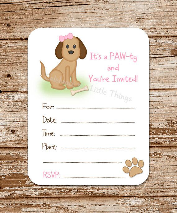 Puppy Invitations / Fill in the Blank / by CelebrateLilThings, $12.00