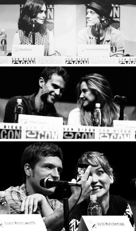 Lily Collins and Jamie Campbell Bower. Shaliene Woodley and Theo James. Jennifer Lawrence and Josh Hutcherson. I love alllll of them ♥