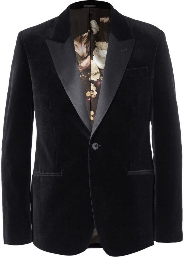 Alexander McQueen Black Slim-Fit Velvet Tuxedo Jacket, A velvet tuxedo jacket will imbue any look with louche elegance. This Alexander McQueen version is handsomely finished with a contrasting satin lapel and dramatic floral print lining. Wear it with a pair of the brand's stylish monogrammed slippers for a dapper evening look. Shown here with a Jil Sander shirt , Alexander McQueen trousers , Lanvin bow tie and shoes and a Charvet pocket square .