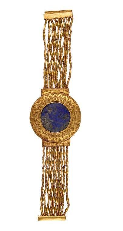 Flexible bracelet - gold, lapis lazuli. Reign of Tutankhamun 1336-1327 BC. Check out more #Art & #Designs at: http://www.vektfxdesigns.com