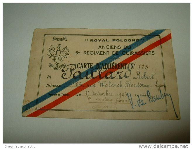 1943 - #LYON - CARTE ROYAL POLOGNE ANCIENS DU 5 EME REGIMENT DE #CUIRASSIERS - PAILLARD ROBERT - VICTOR DE ROUBIN