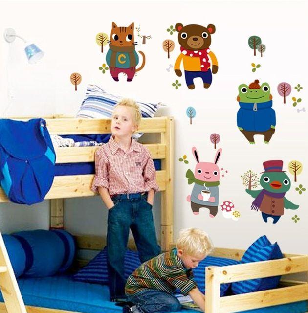 Mignon Grande Robe Ours Chat Wall Sticker Mural Animaux Mignons Papier Peint de vinyle Autocollants Enfant Bébé Filles Garçons Pépinière Chambre Maison décor
