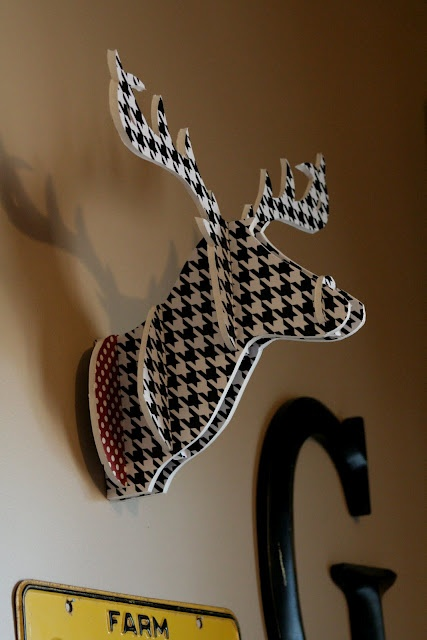 DIY animal trophy made from foam core, with instructions and pattern. Hang above TV