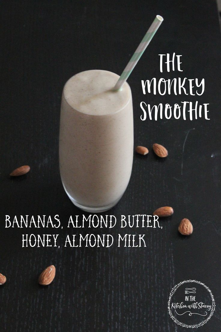 Monkey Smoothie Recipe. Frozen bananas blended together with honey, almond butter and almond milk. A quick and easy breakfast or anytime snack!