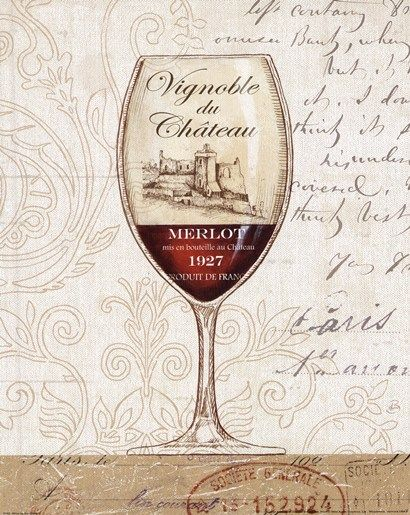 Wine by the Glass II by Daphne Brissonnet - Vintage Typography Art - Merlot 1927 - Vignoble du Cháteau #cCreams #cRed