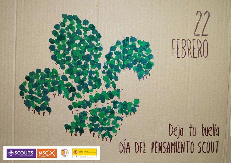 http://www.youtube.com/watch?v=xwCoL5xvAoY  Día del Pensamiento Scout Deja tu Huella  Ambientación en el reciclaje y la reforestación  Cartel A3 serigrafiado en cartón